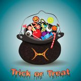 Candies and sweets in bag.Trick stock illustration