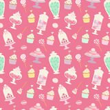 Candies and sweets cartoon style seamless pattern vector illustration Stock Images