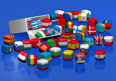 Candies with the texture of European flags Royalty Free Stock Photography