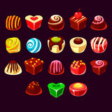 Candies vector, cute sweet game elements Stock Image