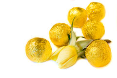 Candies and yellow rose Royalty Free Stock Photos