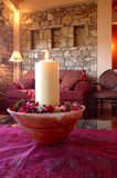 A candle. View of a lounge with a candle Royalty Free Stock Photos