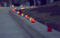 Candle. Set of red candles on the street Royalty Free Stock Image