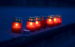 Candle. Set of red candles on the street stock images