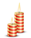 Candle. Flame of burning candle. Illustration of stripped candles Royalty Free Stock Image