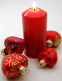 Candle. Decorations, christmas, red, heart, candle love, present, isolated, new year stock photo
