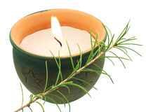 Candle. Decoration with candle on white stock photo