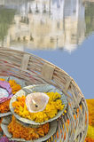 Candle. In a basket near a lake in Rajasthan, India Royalty Free Stock Photo