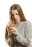Candle. Charming and beautiful woman, holding candle in her hands Royalty Free Stock Images