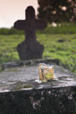Candle. Small candle in an old, abandoned cemetery, Hungary Royalty Free Stock Images