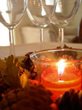 Candle 3. A shot of a candle and some wine glasses Royalty Free Stock Photography