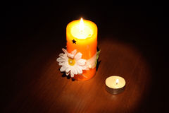 Candle. On a photo of a candles. A night photo Stock Photo