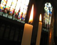 Candle. Two burnig candles in a church royalty free stock photography