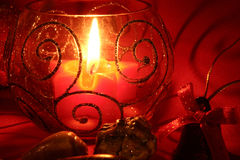 Candle. Red star and seashells and bell Royalty Free Stock Images