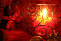 Candle. Red star and seashells and bell Stock Image
