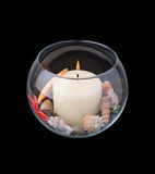 Candle,. Rock, Starfish, Glass, Home Decorating Royalty Free Stock Photography