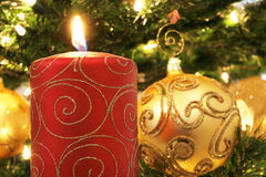 Candle. And Christmas Tree stock photos