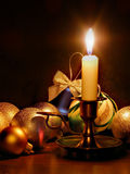 Candle And Christmas Balls Stock Images