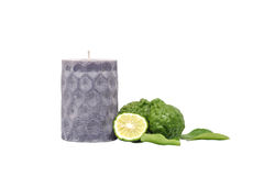 Candle aroma bergamot kaffir lime leaves herb fresh isolated Royalty Free Stock Photography