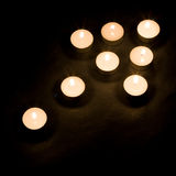 Candle arrow. Arrow made of candles, high view Royalty Free Stock Photos