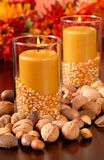 A candle in an autumn setting Royalty Free Stock Photos