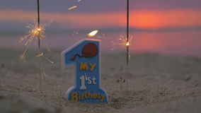 Candle for baby boy first birthday stock footage