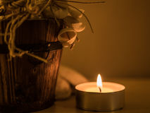 Candle and Backet Stock Image