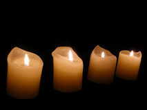 Candle background. Candles lights in ancient church Stock Images