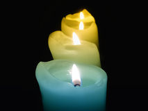 Candle background. Candles lights in ancient church Royalty Free Stock Photography