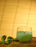 Candle and bamboo. Laying on matte royalty free stock image