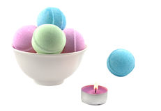 Candle and bath balls Royalty Free Stock Photos
