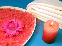Candle and bath salt Royalty Free Stock Photo