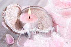 Candle and bath salt - spa decoration Royalty Free Stock Photos