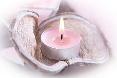 Candle and bath salt - spa decoration Stock Photo