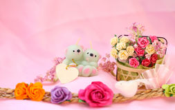Free Candle Bear Couple And Flowers. Stock Photography - 25320332