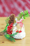 Candle and berries on pine brunch Royalty Free Stock Photography