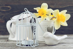 Candle in bird cage Stock Photos