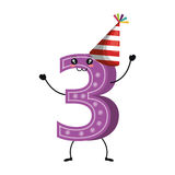 Candle birthday number character Royalty Free Stock Photo