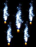 Candle on the black background. Flakes blue candle on the black background Stock Image