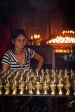 Candle blessings seller of Boudhanath Temple, Kathmandu, Nepal Stock Photos