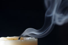 Candle blow off with smoke Stock Image