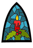 Candle on blue stained glass window Stock Images