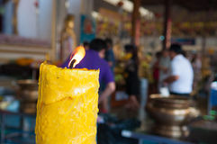 Candle on blur people to pray buddha Stock Photography