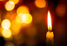 Candle on bokeh Royalty Free Stock Image