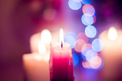 Candle and bokeh Royalty Free Stock Photos