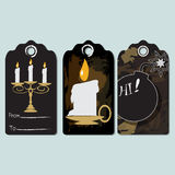 Candle, Bomb Set of tag, Greeting card, vector invitation Royalty Free Stock Photography