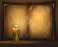 Candle and a book. Digitall illustration of an old book and a candle Royalty Free Stock Photos