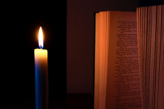 Candle and Book Royalty Free Stock Photo