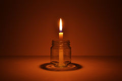 Candle in a bottle Stock Photography