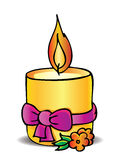 Candle and bow. Christmas gift royalty free illustration